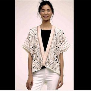 Anthropologie ivory nude pink Mina Kimono O/S